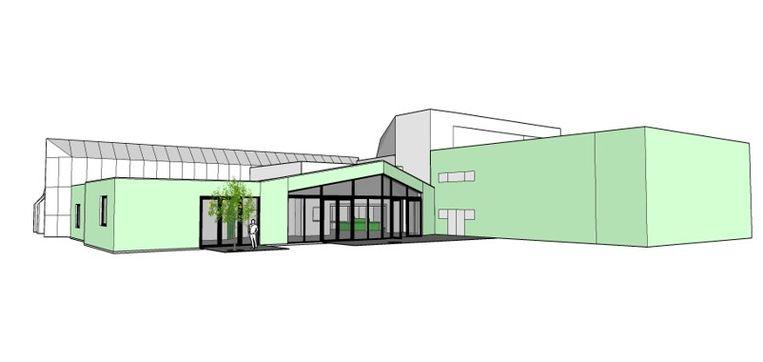 De foyer van OC Ermenrike zal in oppervlakte verdubbelen zodat er ook feesten kunnen plaatsvinden.