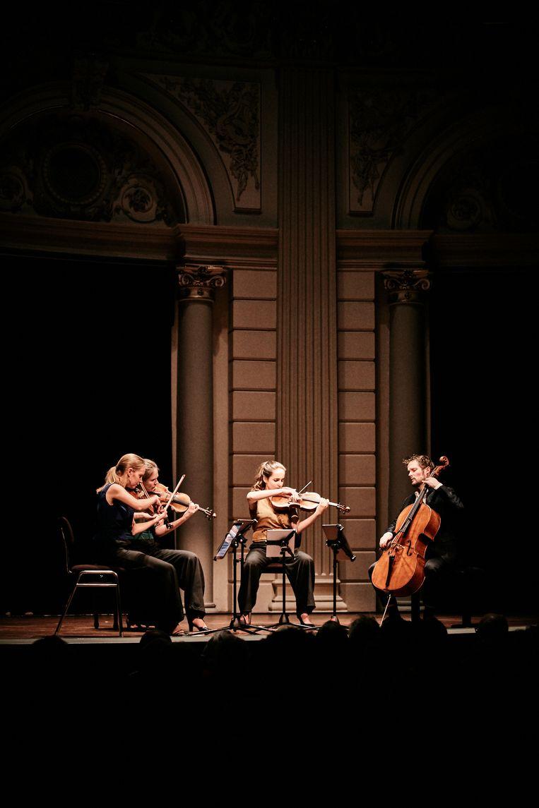 Het Dudok Kwartet in de Kleine Zaal van het Concertgebouw in Amsterdam. Beeld Eduardus Lee
