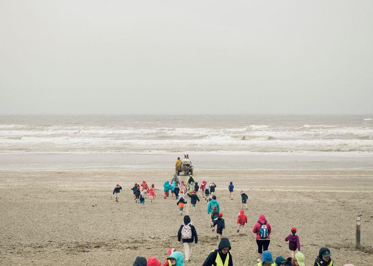 Op het strand van Oostduinkerke demonstreert Dominique aan een zeeklas hoe je dat doet, garnalen vangen. Beeld Tim Coppens