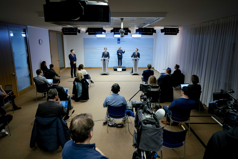 Demissionair premier Mark Rutte en demissionair minister Hugo de Jonge.