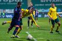 SITTARD, Netherlands, 10-04-2021, football, , Dutch eredivisie, season 2020 / 2021, FC Emmen player Glenn Bijl (L), Fortuna Sittard player Dario van den Buijs (R) during the match Fortuna Sittard - Emmen