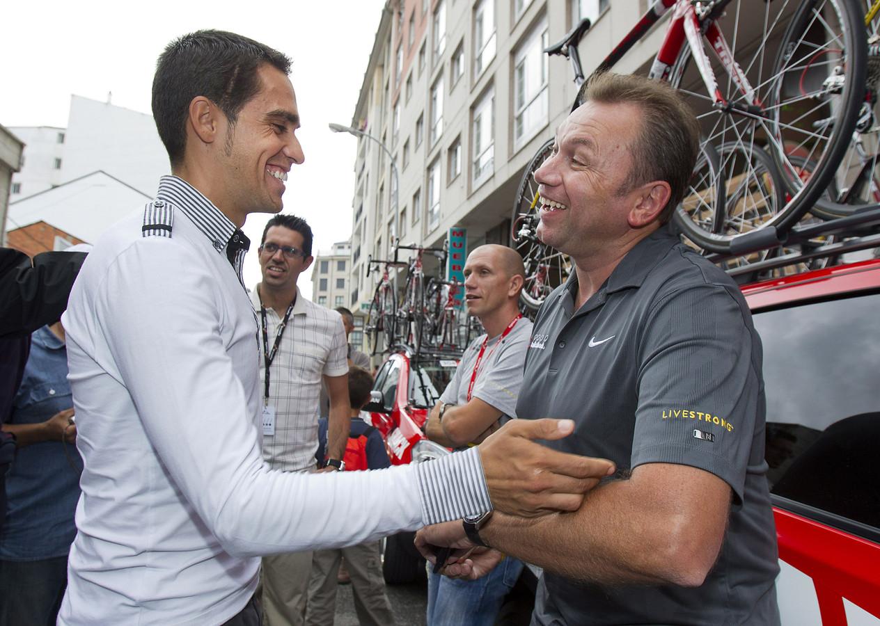 Alberto Contador en Johan Bruyneel.