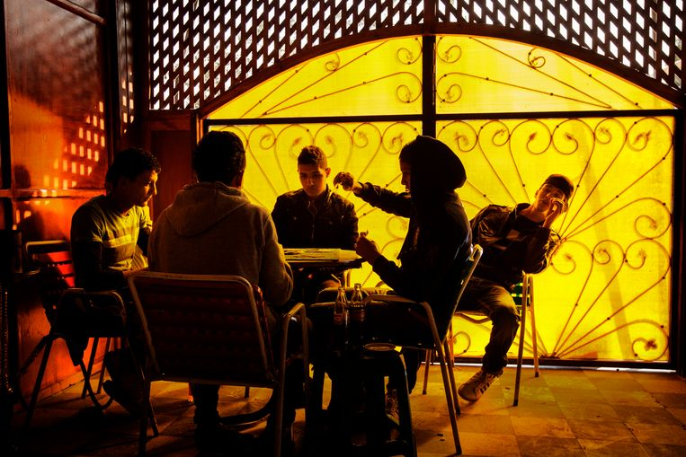 Veel jongeren in de armste regio's van Tunesië vullen hun dagen in het café. Elke dag opnieuw. Beeld Hollandse Hoogte / Panos Pictures