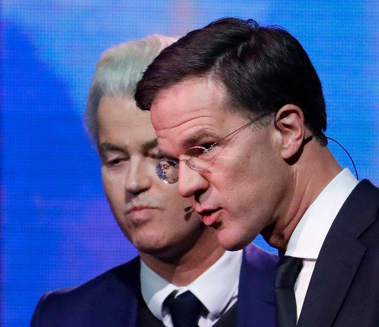 Nederlands premier Mark Rutte, gisteren tijdens het verkiezingsdebat met Geert Wilders. Beeld AP