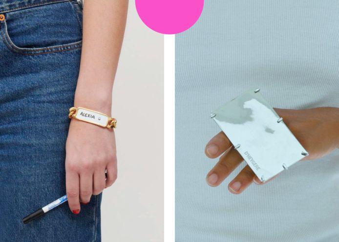 Links: de 'Whiteboard Bracelet', rechts: de 'Card Holder Ring'.