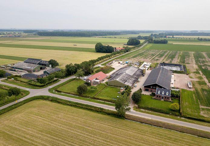 Dit melkveebedrijf (met de oranje dakpannen) gaat plaatsmaken voor een grote varkensstal.