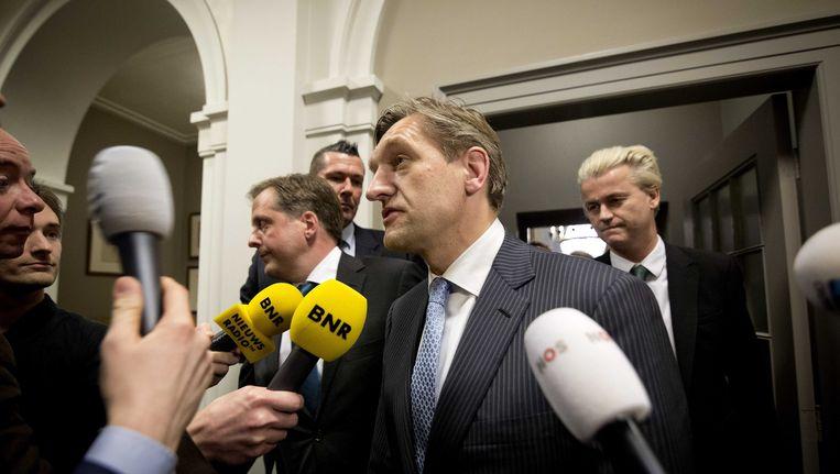 CDA-leider Sybrand van Haersma Buma spreekt met de pers over de 'commissie stiekem' Beeld ANP