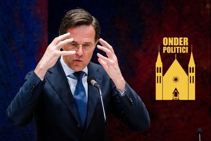 Demissionair premier Mark Rutte tijdens het debat over de notulen.