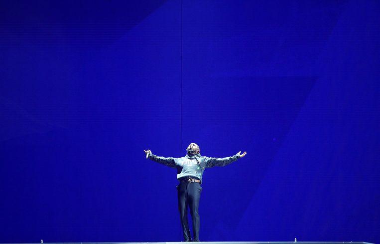 Kendrick Lamar tijdens zijn optreden op de jongste Brit Awards. Beeld REUTERS