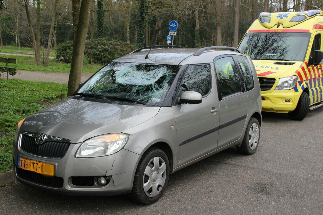 De zwaar beschadigde auto in Wijhe.