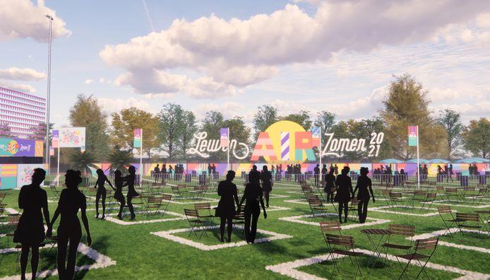 Een 3D-voorstelling van het Leuvense evenementenplein.