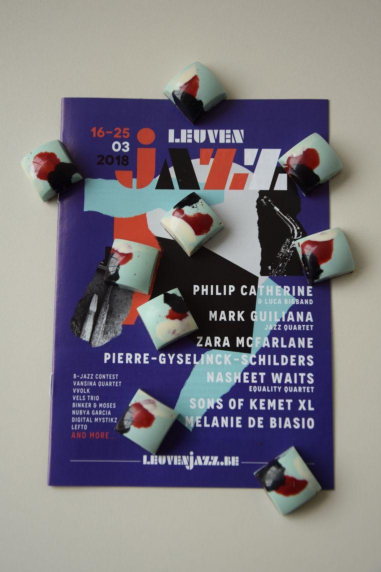 De zesde editie van 'Leuven Jazz' start vrijdag. Als smakelijke aanvulling lanceren het festival en Bittersweet deze Leuven Jazz praline. Beeld RV