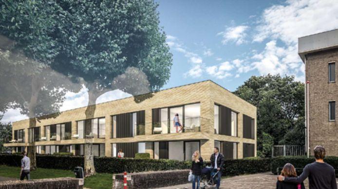 Het ontwerp voor acht appartementen die op de plaats komen van de voormalige pastorie aan de Markt in Prinsenbeek.