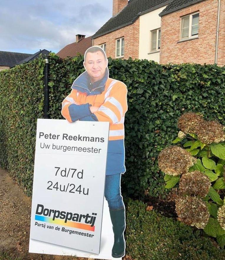 Campagnebord van burgemeester verdwenen.