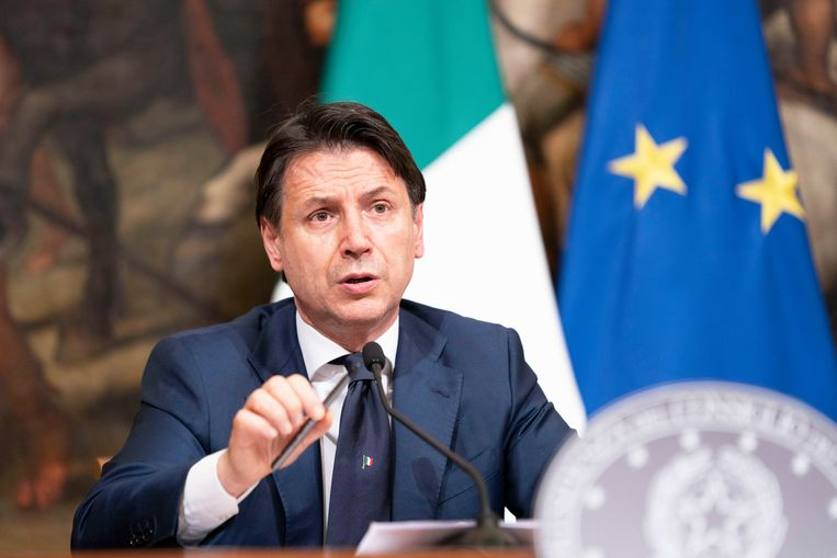Italiaans premier Giuseppe Conte. Beeld EPA