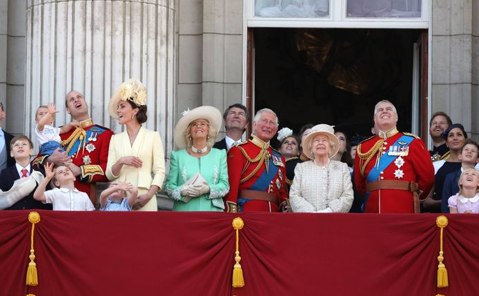 De Britse koninklijke familie kijkt naar de RAF-straaljagers tijdens 'Trooping the Colour in 2019. Van links naar rechts staan William en Kate, Camilla, Charles, Queen Elizabeth,  Andrew, Harry en Meghan.