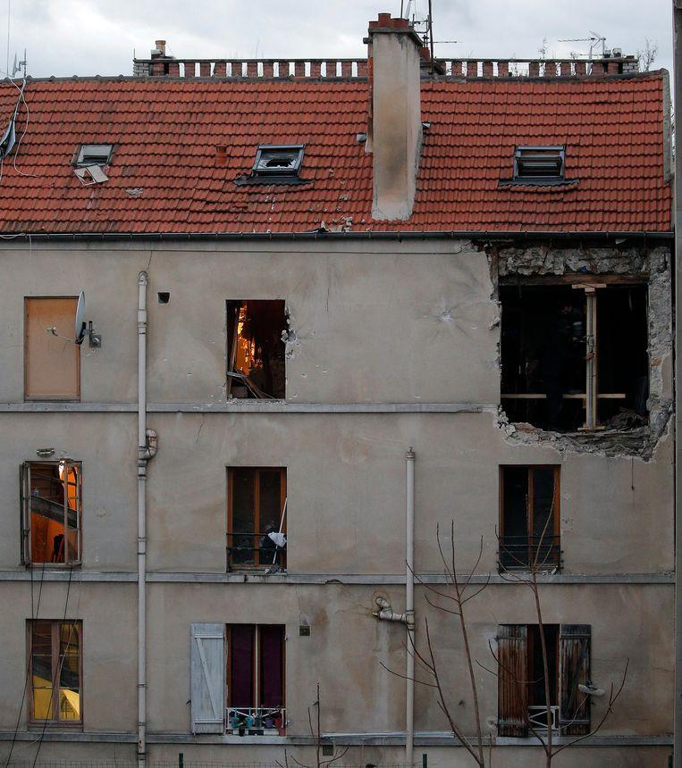 Het appartement in Saint-Denis waar Abaaoud stierf. Beeld AP