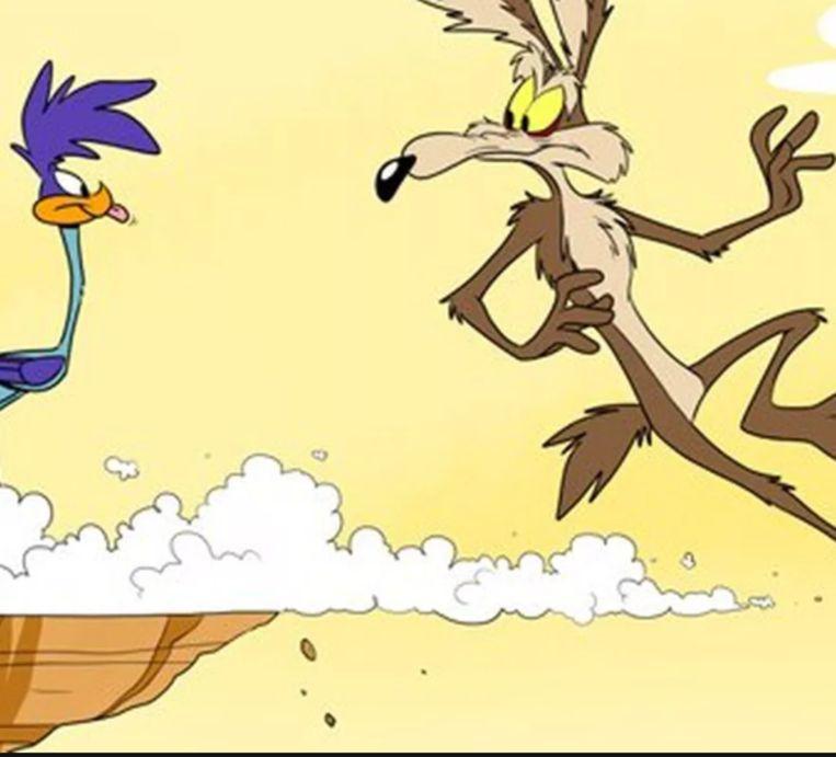 Wile E. Coyote (Road Runner) draaft door. Beeld beeld uit tekenfilm Road Runner