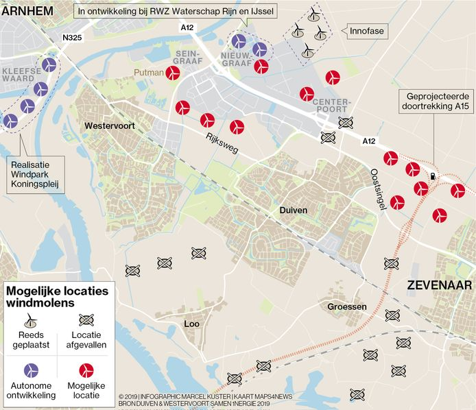 Mogelijke locaties voor windmolens rond Duiven.