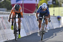 Annemiek van Vleuten won ten koste van Elisa Longo Borghini de sprint om plek twee.