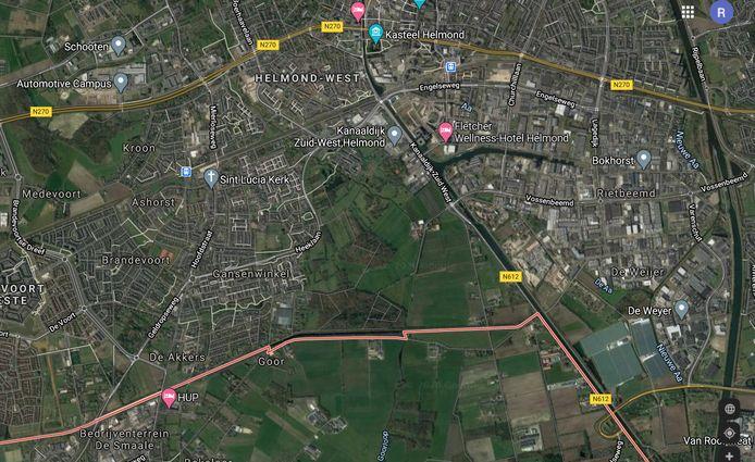 De zuidkant van Helmond, met ten zuiden van de gemeentegrens (rode lijn) het gebied Lungendonk. Rechtsonder de Rochadeweg, links de Brandevoortse Dreef.