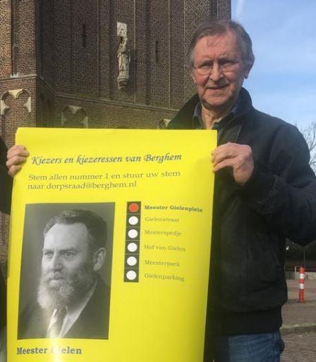 Ludieke posteractie in Berghem om het Meester Gielenplein te behouden