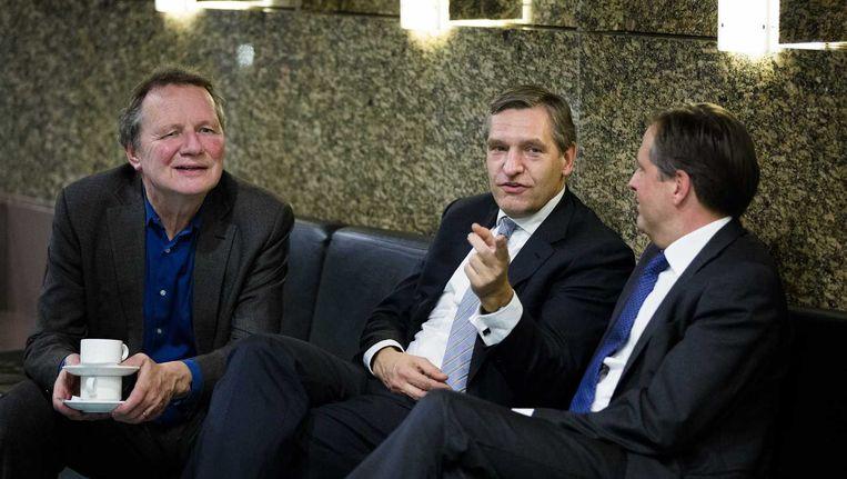GroenLinks-fractievoorzitter Bram van Ojik, CDA-fractievoorzitter Sybrand Buma en D66-fractievoorzitter Alexander Pechtold Beeld anp
