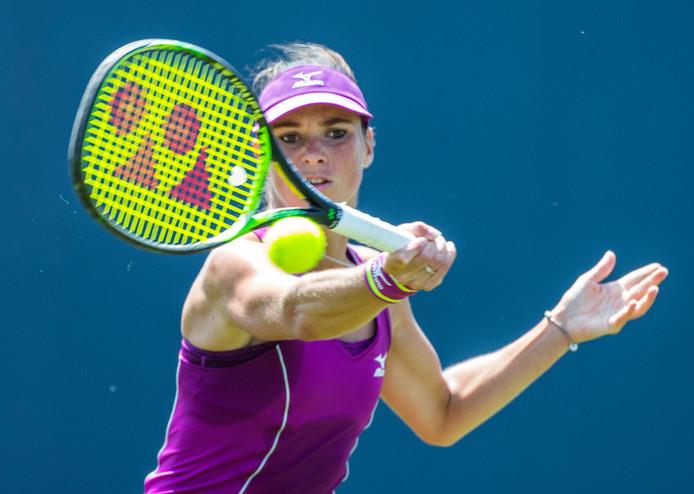 Bibiane Schoofs strandde in de eerste ronde van het kwalificatietoernooi voor Wimbledon.