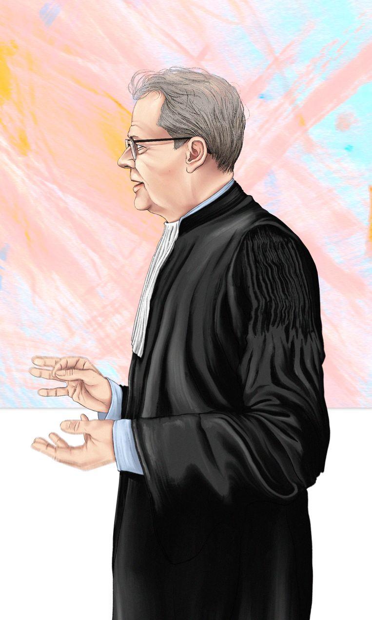Advocaat Nico Meijering ondervraagt woensdag kroongetuige Nabil B. tijdens een zitting in het Marengoproces. Beeld Adrien Stanziani