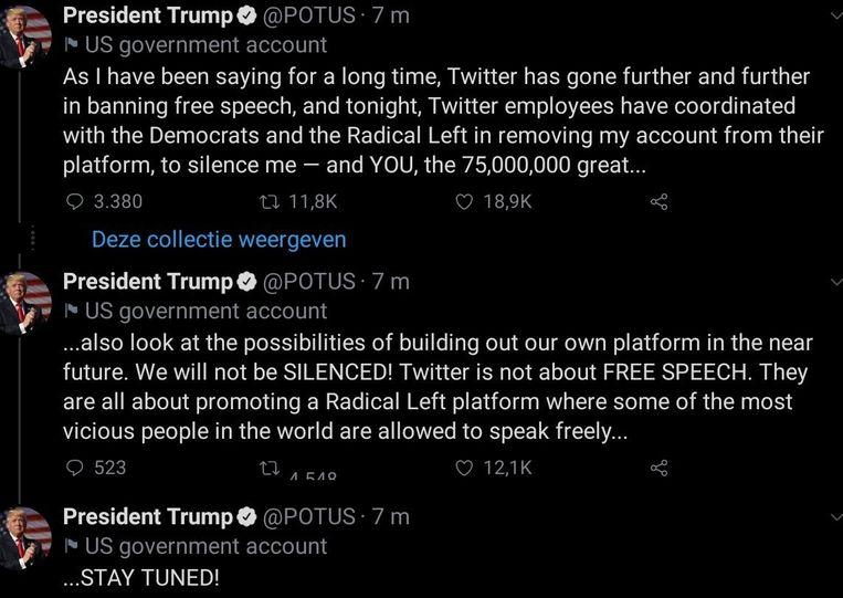 Enkele van de berichten die president Trump op het account @POTUS plaatste en ook door Twitter werden verwijderd.   Beeld RV