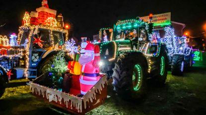 50-tal tractoren rijden met indrukwekkende verlichting door Lebbeke