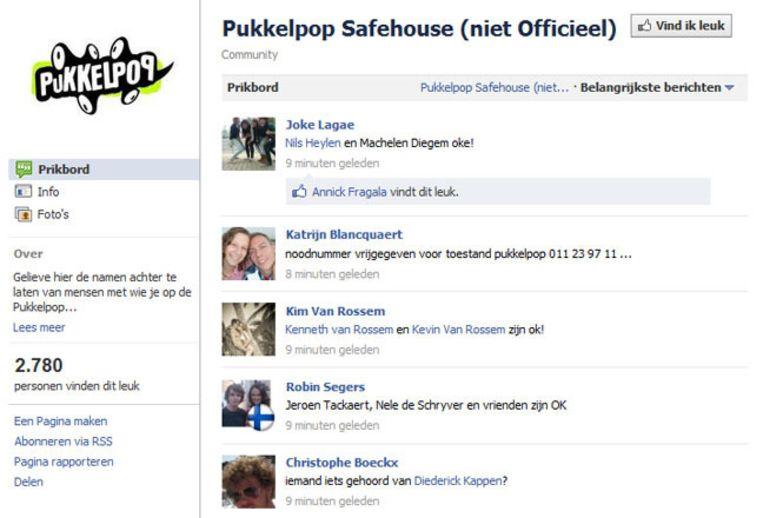 De pagina 'Pukkelpop Safehouse' op Facebook. © FACEBOOK Beeld