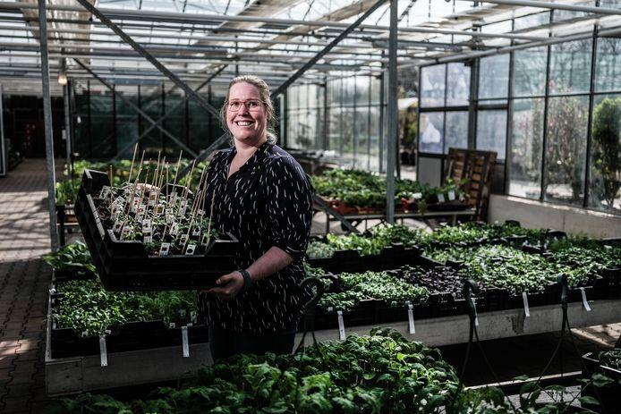 Daphne Bloemendaal met haar tomatenplantjes.
