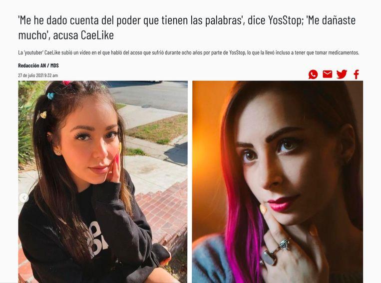 Youtuber Caeli die de aanval heeft ingezet op haar collega YosStop. Beeld -