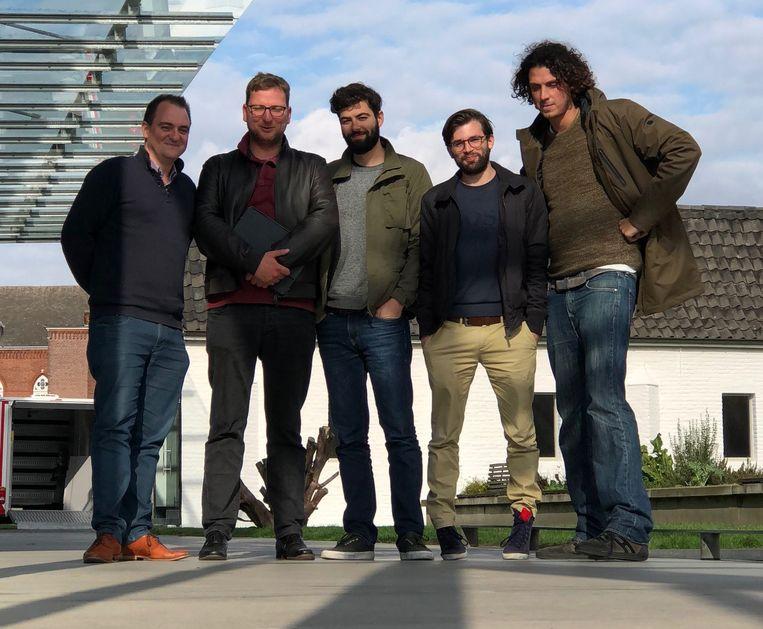 De oprichters van Delta: Nicolas Van Eenaeme, Lorenz Bogaert, Filip Minev, Nicolas Van Hoorde en Toon Coppens. Beeld Delta