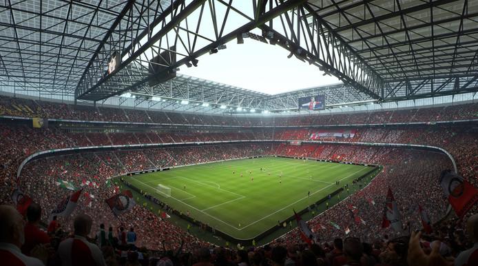 Supporters in het nieuwe stadion zitten nóg dichter bij het veld, zodat de wedstrijd perfect te volgen is.