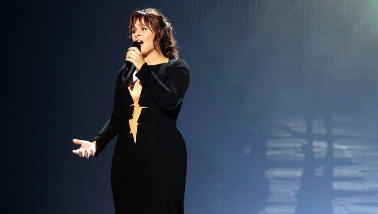 Zangeres Trijntje Oosterhuis tijdens de repetitie voor het Eurovisiesongfestival in de Oostenrijkse stad Wenen. Beeld anp