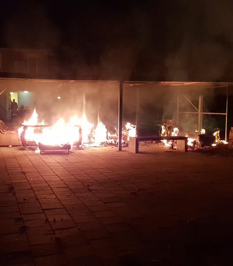 Brand tegenover studentencomplex in Wageningen