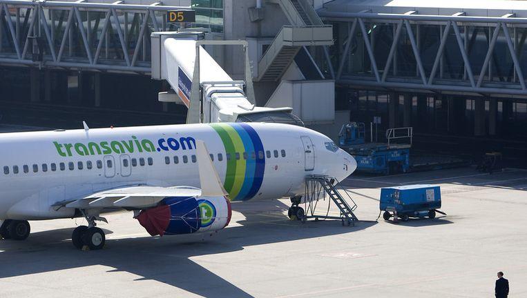 Een vliegtuig van Transavia op Schiphol. Foto ANP Beeld