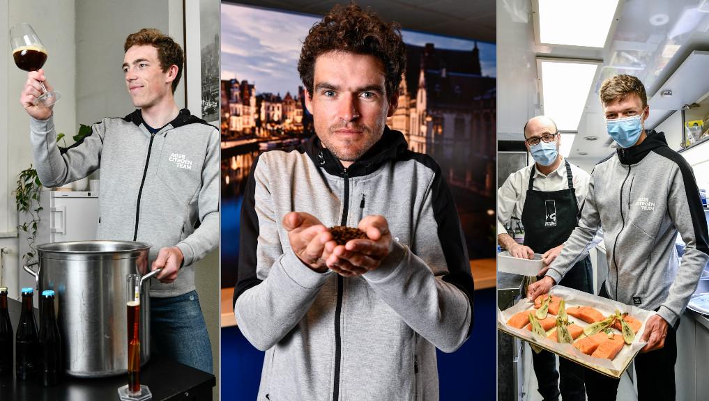 Stan Dewulf, Greg Van Avermaet en Oliver Naesen, elk met hun gastronomische specialiteit.