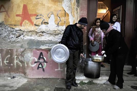 Een immigrantenfamilie in Athene.