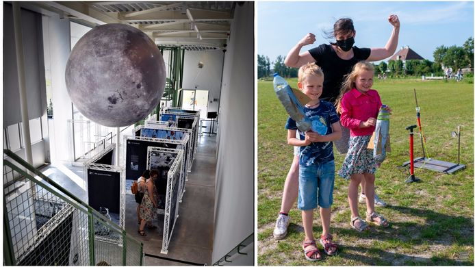 Links: In de grote tentoonstellingsruimte komen er infopanelen, maar ook een virtualrealityhoek. Rechts: Astropolis wil ook heel wat workshops houden voor zowel kinderen als volwassenen.