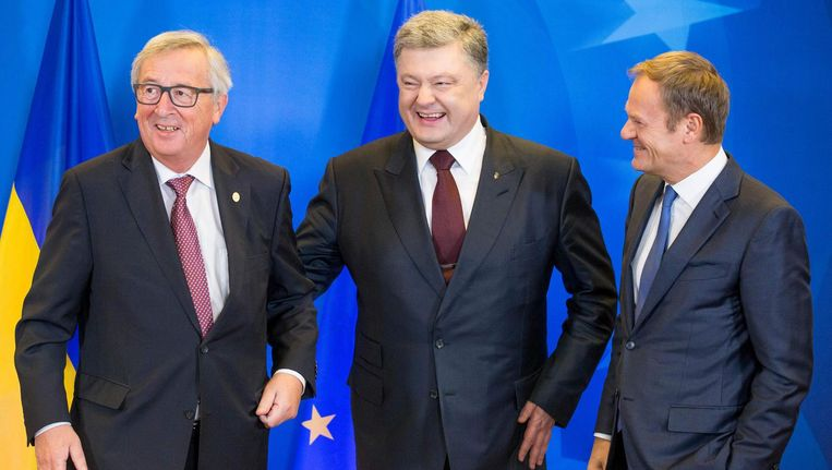 Jean-Claude Juncker, Petro Porosjenko en Donald Tusk Beeld afp