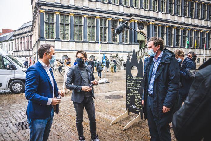 Mathias De Clercq met Egbert Lachaert en Georges-Louis Bouchez in Gent