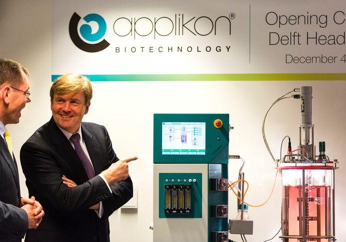 Koning Willem-Alexander opende eerder het nieuwe hoofdkantoor van Applikon Biotechnology BV op de Biotech Campus in Delft. Ter illustratie.
