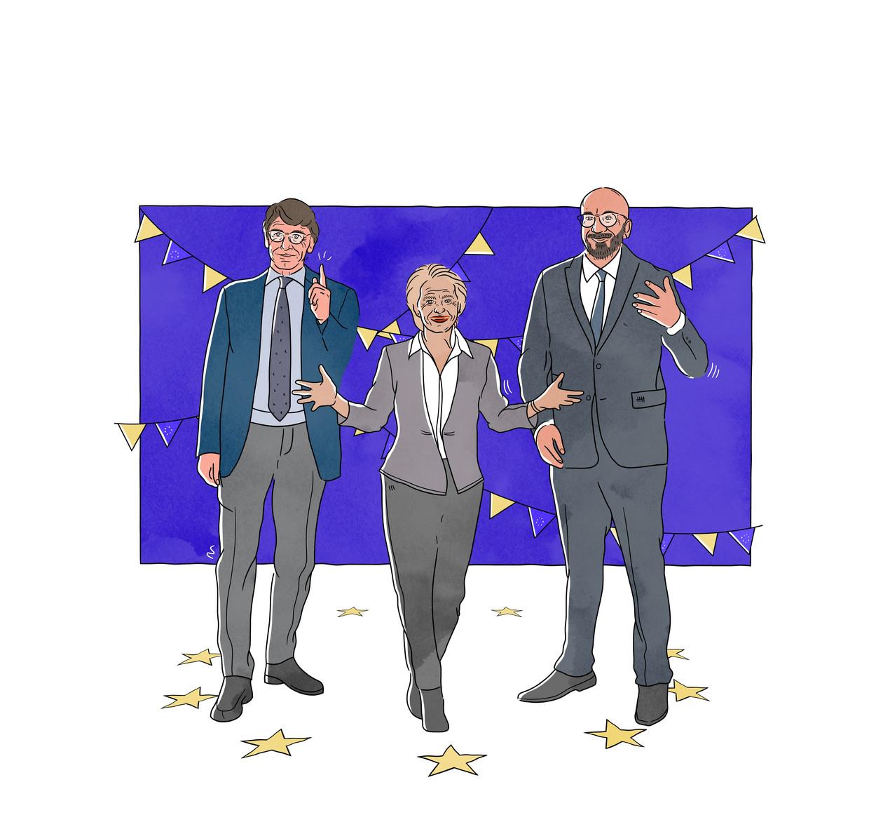 Zij bemensen de Europese Conferentie over de Toekomst: parlementsvoorzitter David Sassoli, Commissievoorzitter Ursula von der Leyen en Raadsvoorzitter Charles Michel.