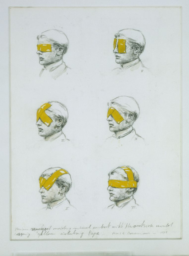Michaël Borremans, 'Various ways of avoiding visual contact with the outside world using yellow isolating tape', detail, 1998. Beeld rv Museum Guislain