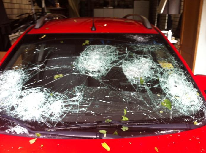 De auto van de zoon van Ad Dekkers in Luyksgestel is totaal vernield.