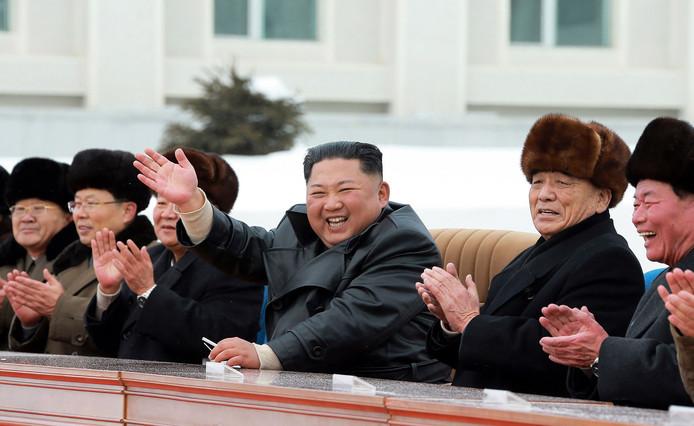 De Noord-Koreaanse leider Kim Jong-un was aanwezig bij de ceremonie