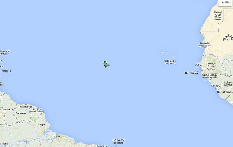 Moederziel alleen ligt de Pelagia op de open oceaan Beeld Google Maps